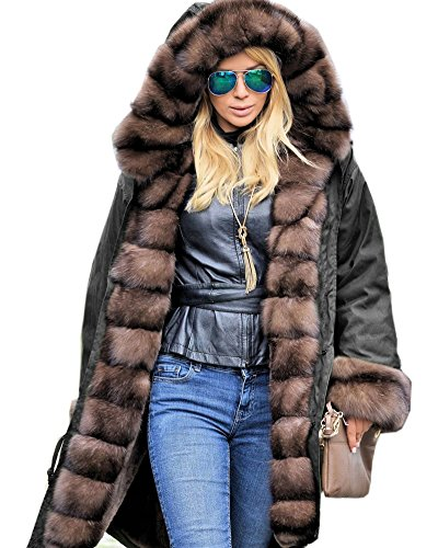 Roiii Women Luxury Winter Long Warm Thick Parka Cafe Faux Fur Jacket Hood Coat (3X-Large, Black)