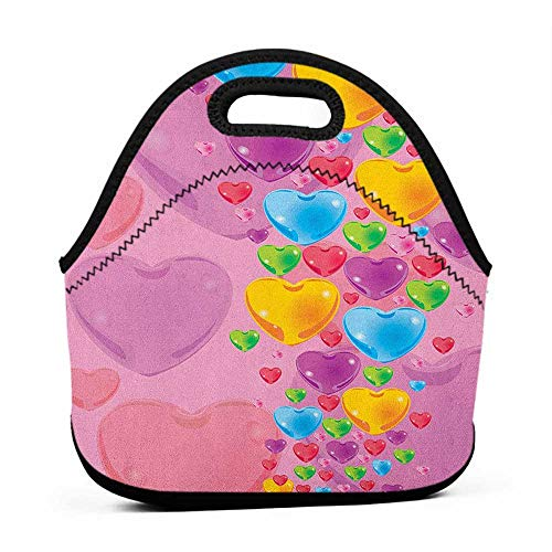 Large Size Reusable Lunch Handbag Princess,Romantic Stylized Art with Colorful Crystal Hearts Creative Fun Celebration Theme, Multicolor,monogram lunch bag for kids