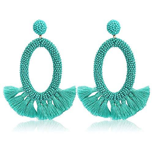 (Women's Beaded Tassel Earrings Long Fringe Drop Bohemian Earings Dangle 7 Colors (Bead-Green))