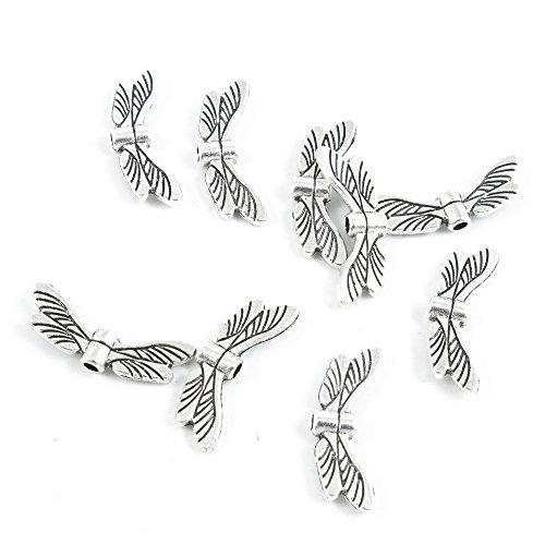 Dragonfly Wings Antique (Price per 10 Pieces Antique Silver Tone Jewelry Making Charms Supply Z6PH5 Dragonfly Wings)