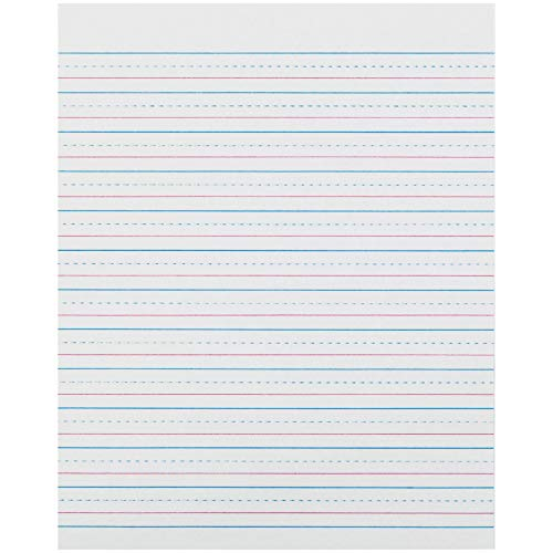 "Pacon PACZP2413 Zaner-Bloser Sulphite Handwriting Paper, Dotted Midline, Grade 2, 1/2"" x 1/4"" x 1/4"" Ruled Short, 8"" x 10-1/2"", 500 Sheets"