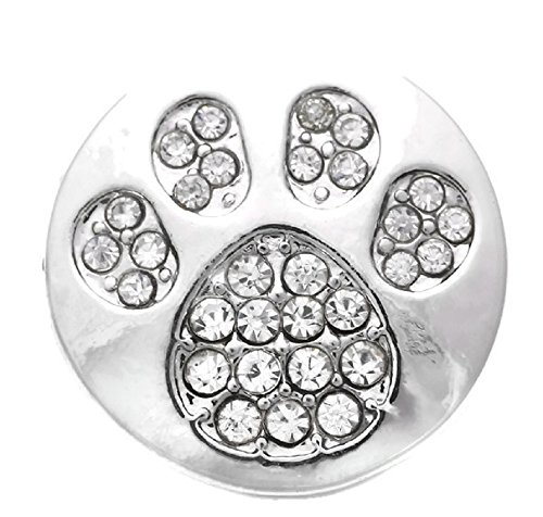 Rhinestone Dog Paw Snap Button Charm (Snap Rhinestone)