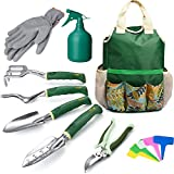 Delxo Gardening Tools Set,9 Piece Garden Tool Kit Garden Tools Set with Storage Bag,Shovels for Digging,Weeder, Rake, Trowel, Sprayer,Plant Labels,Gloves Gardening Tools for Women