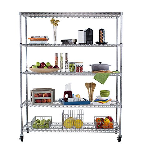 TRINITY 5-Tier NSF Heavy Duty X-Large Wire Shelving Rack with Wheels, 60 by 24 by 72-Inch, Chrome - Chrome Commercial Shelf