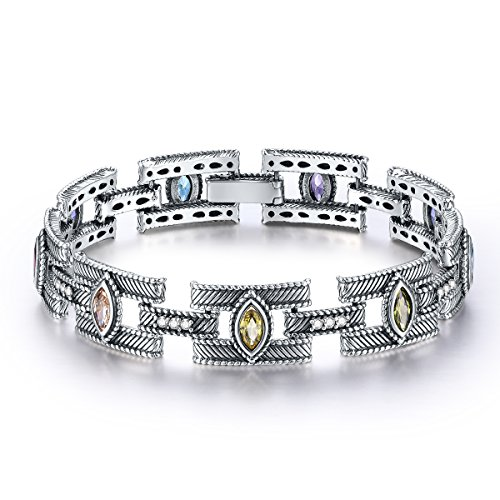 Merthus Antique Style Womens 925 Sterling Silver Created Gemstone Multicolor Link Bangle Bracelet