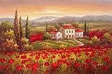 kitchen italian wall art - 100% Hand Painted Canvas Oil Painting,wall Art Home Decoration Italian Tuscany Red Poppy Flower Field Vineyard