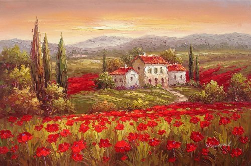 100% Hand Painted Canvas Oil Painting,wall Art Home Decoration Italian Tuscany Red Poppy Flower Field Vineyard (Tuscany Painting Oil)