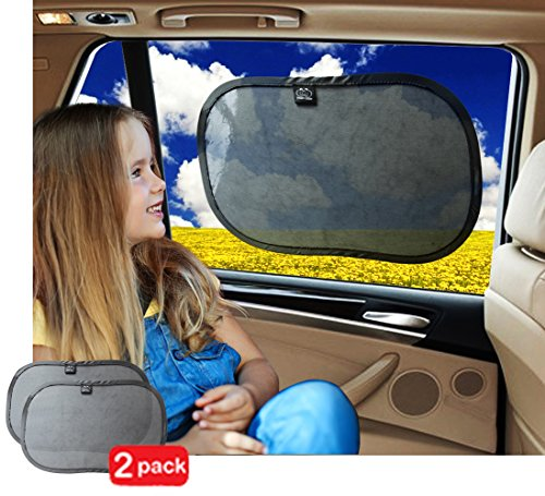 Car Sun Shade by Freddie and Sebbie - Luxury 2-Pack Baby Car SunShades, Provides UPF 30+ Sun Protection For Babies, Made For Windshield, Side Windows, Rear - Discount Car Shades Code