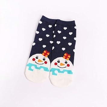 YZWZ Calcetines Navidad Papá Noel Calcetines Mujer Algodón Calcetines de Invierno Hombre de Nieve Calcetines Lindos