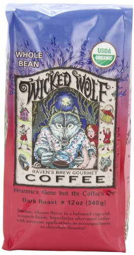 Ravens Brew Whole Bean Organic Wicked Wolf, Dark Roast, 12-Ounce Bags (Pack of 2)