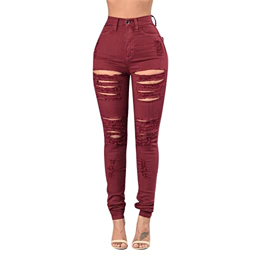 bb3683c1ec54ce Rela Bota Women's High Waist Skinny Ripped Jeans Stretch Distressed Denim  Pants X-Large Red at Amazon Women's Jeans store
