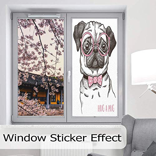 Privacy Frosted Decorative Vinyl Decal Window Film,Pug,for Bathroom, Kitchen, Home, Easy to Install,Cute Pug with Pink Bow Tie Oversized Glasses,24''x48''