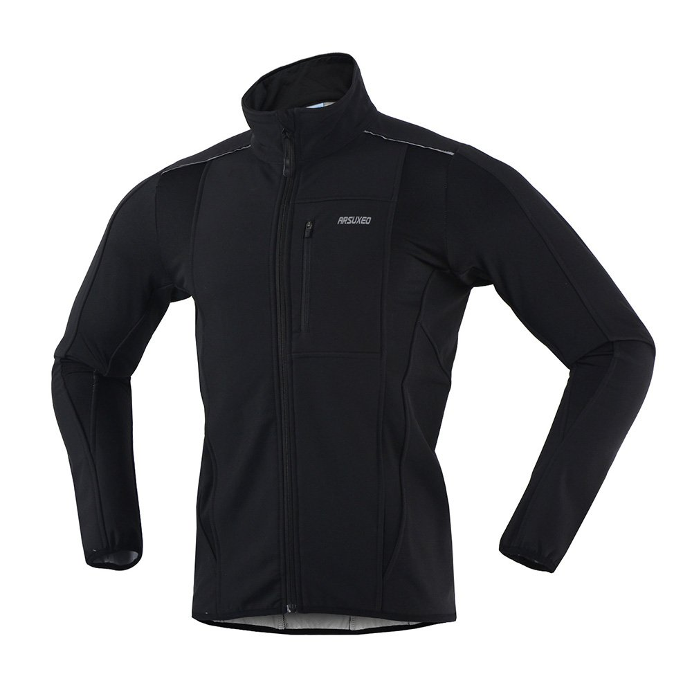 ARSUXEO Winter Warm UP Thermal Softshell Cycling Jacket Windproof Waterproof Bicycle MTB Mountain Bike Clothes 15-K Black Size Small