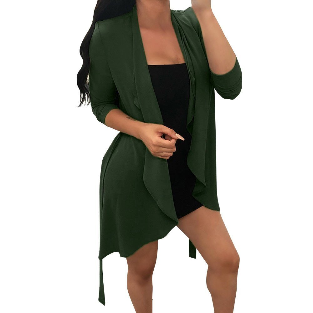 Women Long Sleeve Drape Waterfall Solid Chiffon Irregular Collar Cardigan Coat Overcoat Tops
