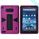 "LIKESEA Fire 7"" (2017 release) Case,Three Layer Ultra Hybrid Shock Absorption Case High Impact Resistant Full-Body Protective Case With Kickstand for Amazon Fire 7 (2017) - Purple Black"
