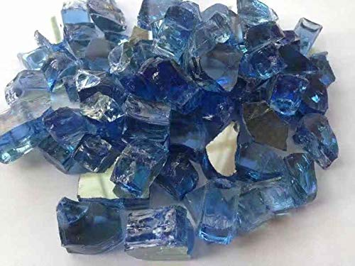 """High Luster 1/2"""" Reflective Fire Glass for Fireplace Or Fire Pit 10 Lb in A Bag (Pacific Blue) (Glass Blue Fire Pacific)"""