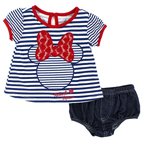 [Minnie Mouse Baby Girls Americana Swing Top and Bloomers Set (18M, Navy/Red Stripes)] (Minnie Mouse Outfit For Babies)