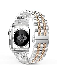 Apple Watch Band Series 1 Series 2, MoKo Stainless Steel Metal Replacement Smart Watch Strap Bracelet for Apple Watch 38mm All Models - SILVER & Rose GOLD (Not Fit iWatch 42mm 2016)