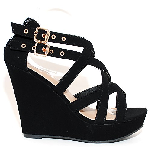 Sandals TRENDSup Collection Black Women Buckle Wedge Fashion dPPgXwqr