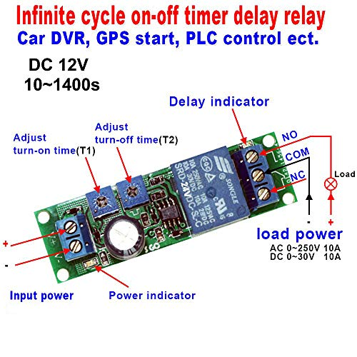 Infiniti Relay - DC 12V Infinite Cycle Delay Timer Time Relay ON OFF Switch Loop Module 10~1400 Seconds