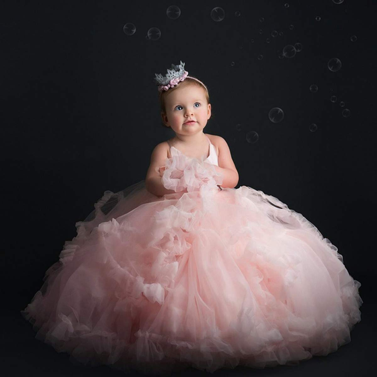Amazon.com  Pink Flower Girl Dresses V-Neck Long Tulle Puffy Ball Gown  Party Sleeveless Bridesmaid Lace Appliques Prom Pageant  Clothing 2d166862ae62