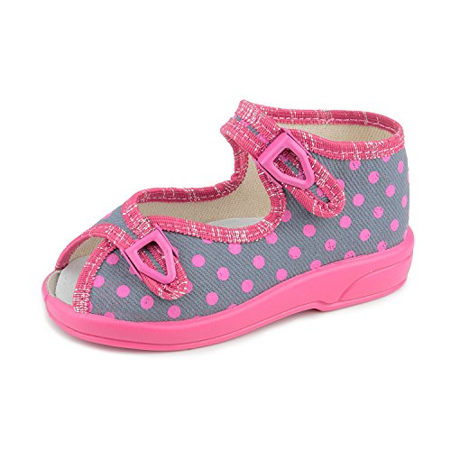 Zetpol Lucja 1857 Toddler Girls' Pink Polka Dots On Gray Metal Cam Lock Buckle Canvas Sandal, 26 M EU/10.5 M US Little Kid Canvas Lined Sandals