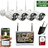 12 inch Screen OOSSXX HD 1080P 8 Channel Wireless Video Security Camera System,4 pcs 1080P 2.0Megapixel Wireless Weatherproof Bullet IP Cameras,Plug and Play,70FT Night Vision,P2P,App, 1TB HDD install