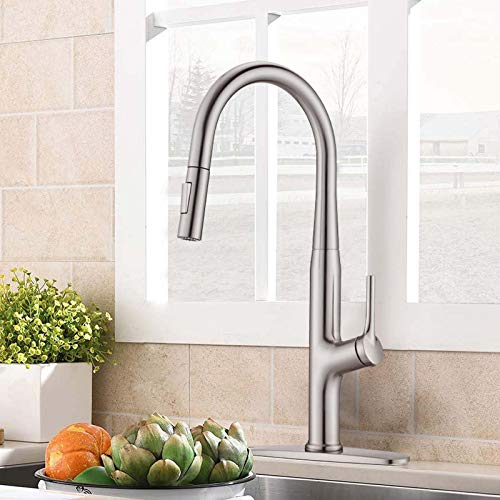 Besfelos Kitchen Faucet with Pull Down Sprayer, Single Handle Commercial Pull Out Sink Faucet, Single Handle Stainless Steel Kitchen Sink Faucets with Single Hole Deck Plate, Brushed Nickel