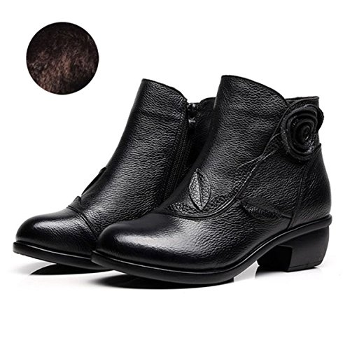 Leather Women's Bootie Black Shoes Floral Socofy Vintage Leather Boot Boots Fashion Handmade Ankle Oxford Rose 0Ttwpqg