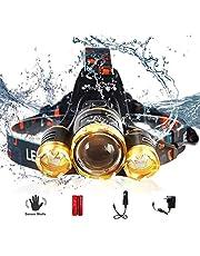 LED Headlamp, XM-L T6 High Lumen Waterproof 3 Led 4 Modes