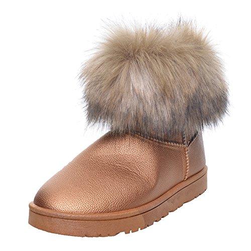 Acolchada de Al Piso Botas Botas Zapatos con Hibote de Mujer Nieve Libre de Aire Para Botas Caliente de Oro 41 de 36 Piel Botas Nieve Mujer n7TnFa