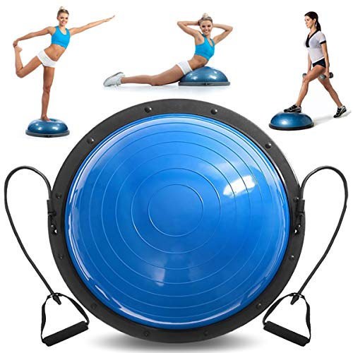 VEVOR Balance Trainer Ball 23 Inch Balance Trainer Blue Yoga Balance Ball Fitness Strength Exercise Workout with Resistance Bands and Pump (Blue)