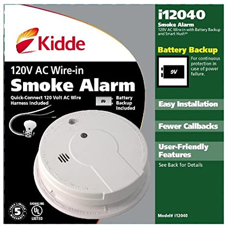 51dxhGO1B3L._SX466_ kidde hardwire smoke alarm with hush feature and battery backup  at n-0.co