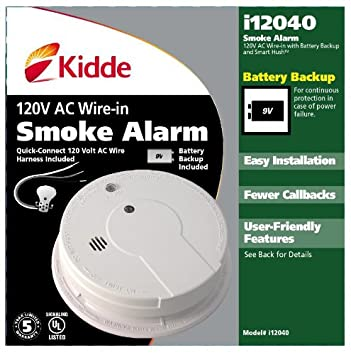 51dxhGO1B3L._SY355_ kidde hardwire smoke alarm with hush feature and battery backup  at n-0.co
