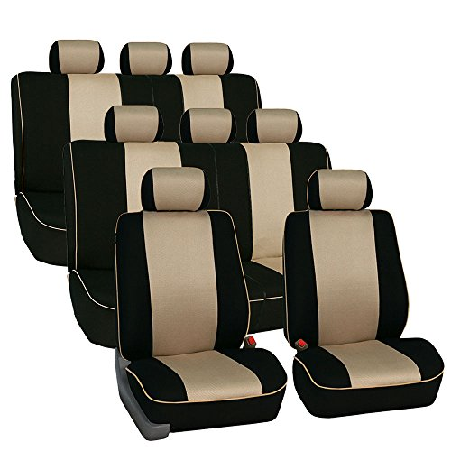 FH Group FH-FB063128 Three Row Cloth Car Seat Covers with Piping Airbag & Split Ready Beige/Black- Fit Most Car, Truck, SUV, or Van (Seat Piping)