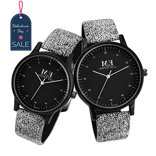 Her Couple Watches (Menton Ezil Classic His and Hers Couples Matching Watch Leather Band Quartz Wrist Watches for Women and Men - Set of 2)