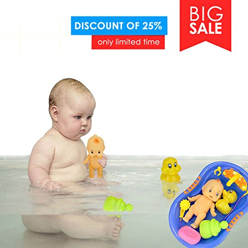 Sealive 7 Pieces Baby Bathtub Doll With Shower Accessories Set,Water Sprayer Colorful Kids Play Water Toys,Funny Shower Party For Todllers