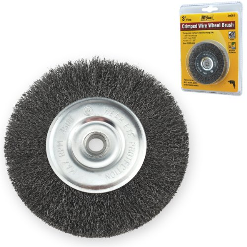 Crimped Wheel Brush - IVY Classic 39051 3-Inch x 1/2 - 3/8-Inch Arbor, Carbon Steel Crimped Wire Wheel Brush - 0.008-Inch Fine, 1/Card