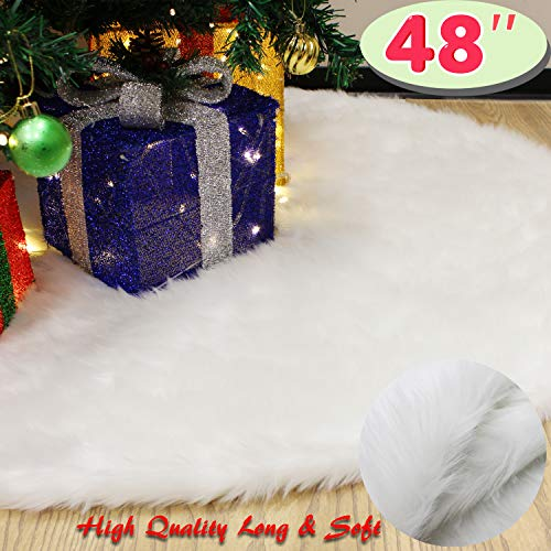 "JOYIN 48"" Faux Fur Christmas Tree Skirt for Holiday Tree D"