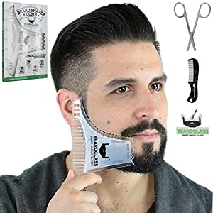 BEARDCLASS Beard Shaping Tool – 8 in 1 Comb Multi-liner Beard Shaper Template Comb Kit Transparent – Works with any Beard Razor Electric Trimmers or Clippers (Clear)