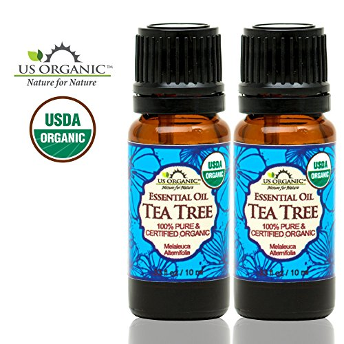 US Organic 100% Pure Tea Tree Essential Oil - USDA Certified Organic - 10 ml Pack of 2 - w/ Improved caps and droppers (More Size Variations Available)