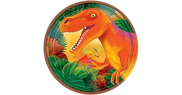Amazon.com: Prehistoric Party dinosaurio metálico Platos de ...