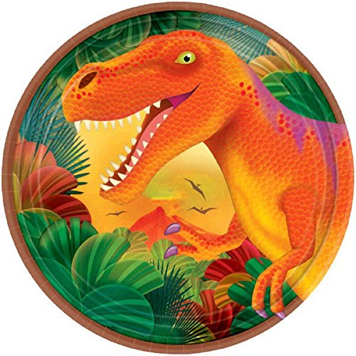 Prehistoric Dinosaurs Metallic Round Plates, 7