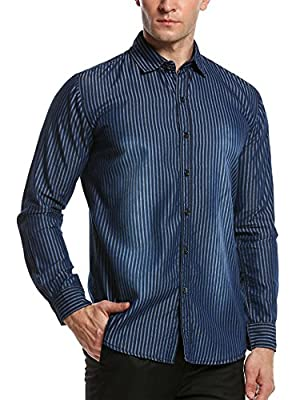 Hotouch Men's Button up Shirts Long Sleeve Casual Slim Fit Button Down Shirts