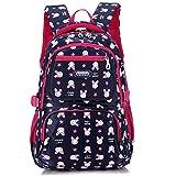 Uniuooi Primary School Backpack Book Bag for Girls 8-12 Years Old Waterproof Nylon Schoolbag Travel Rucksack 14 inch Laptop Bag, Cute Rabbit Print (Navy)