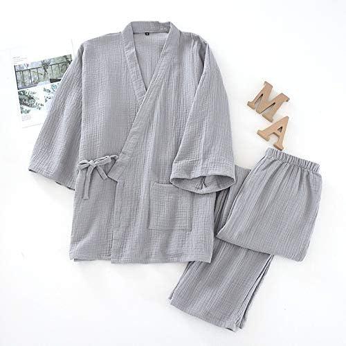 パジャマ CHJMJP 100%コットンパジャマプラスサイズのルースバスローブVネック着物Pijama MUJERスリークオーターパジャマカップルパジャマ (Color : Men grey, Size : L)