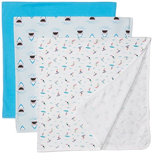 Rosie Pope Baby Boys' Blankets 3 Pack, Sharks/Surf Boards Multi, One - Surf Baby
