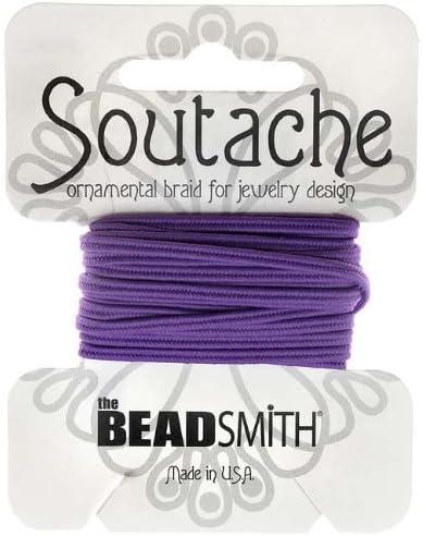 Beadsmith Soutache Braided Cord 3mm Wide 3 Yard Card Deep Pink