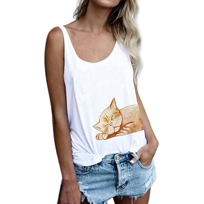 ZODOF Tops Mujer,Camisa sin Mangas de la Moda de Las Mujeres Gato ...