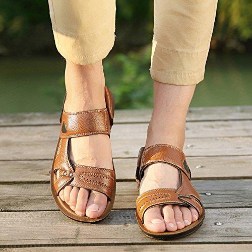 on Plage Hommes Plage Foncé Chaussures Respirant De Des Eastlion Pantoufles Brun Slip Sandales De wTAqnY
